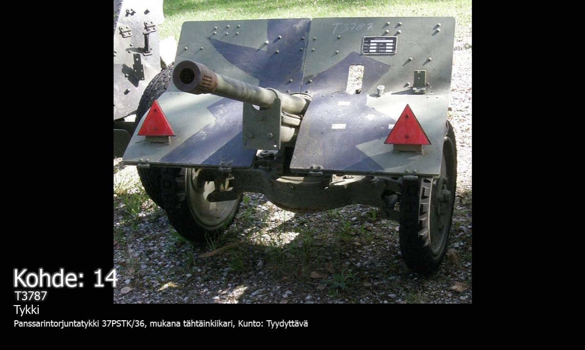 Kerimäeltä varastettu 37pstk/36 Bofors-panssarintorjuntatykki
