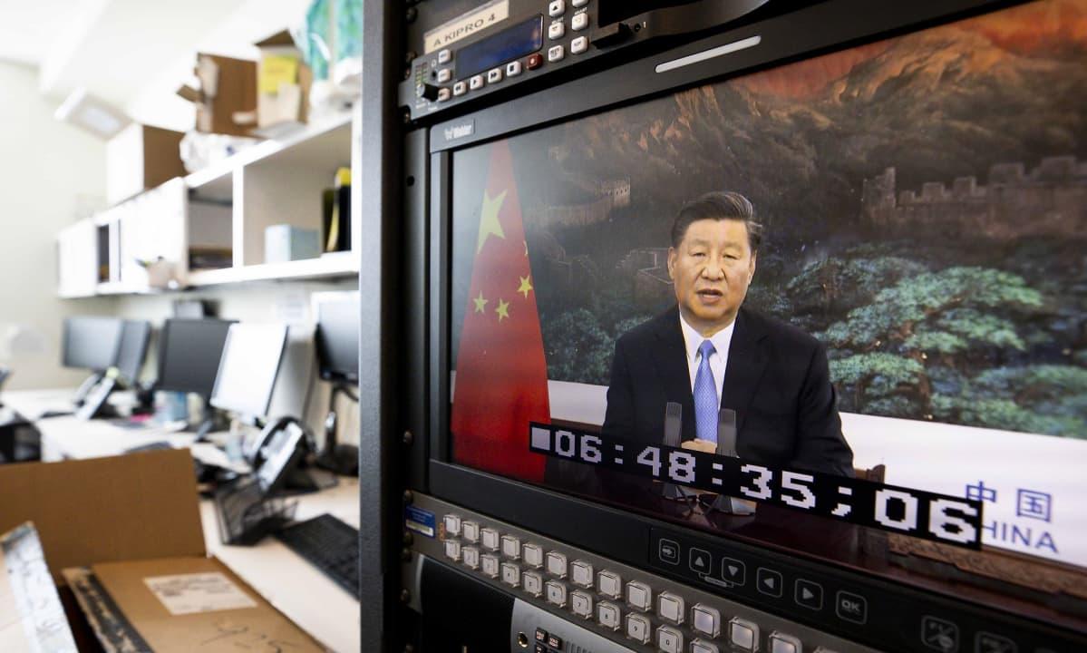 Kiinan presidentti Xi Jinping YK:n yleiskokokouksessa videoyhteyden välityksellä.