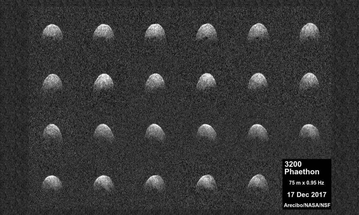 Asteroidi 3200 Phaethon Arecibon teleskoopin kuvaamana.