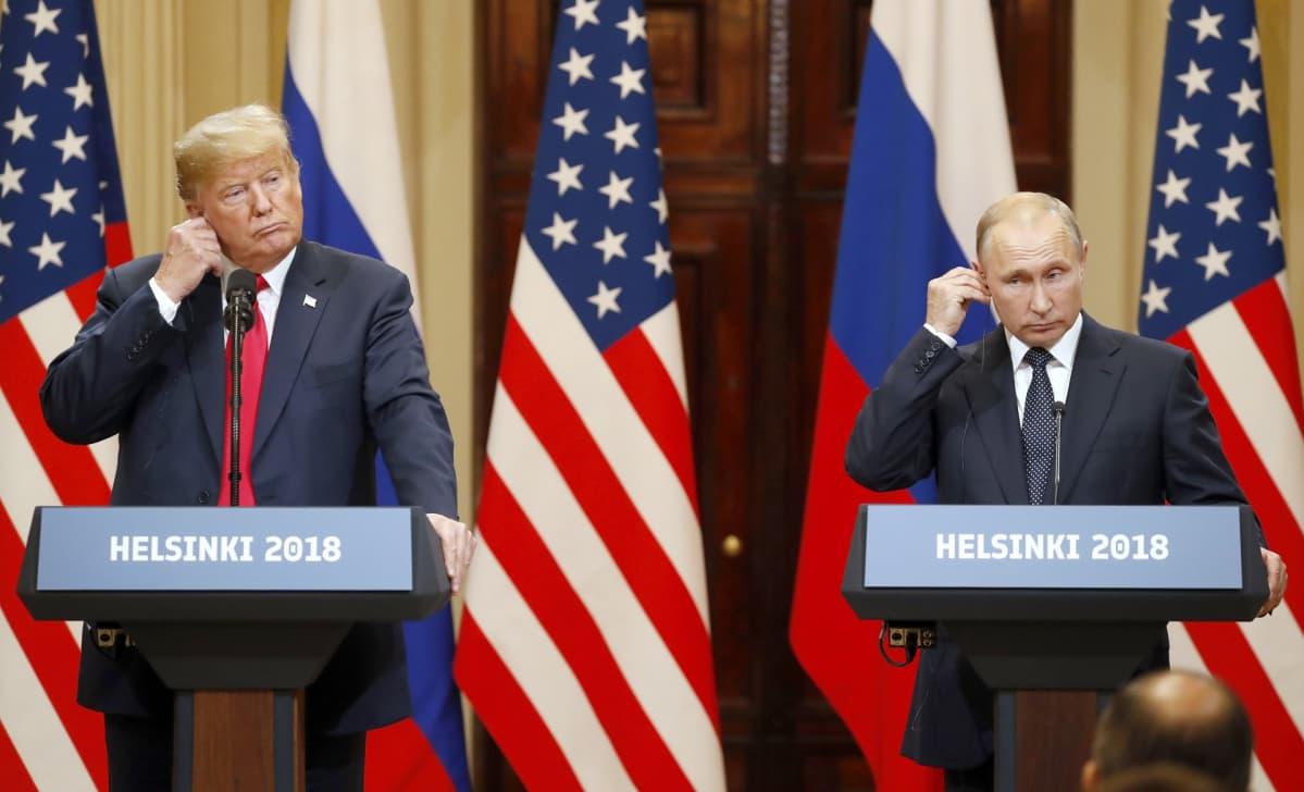Yhdysvaltain Donald Trump ja Venäjän Vladimir Putin tapasivat Helsingissä 16. heinäkuuta 2018.