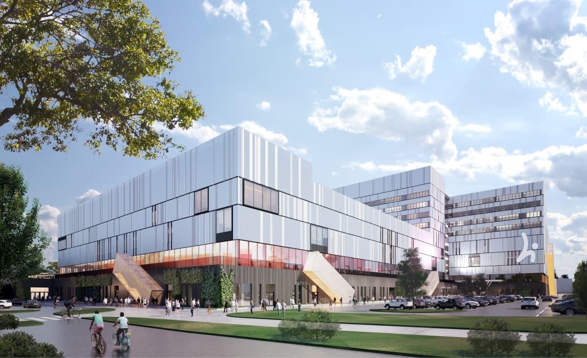 Hippoksen alueen uusia rakennuksia havainnekuvassa.