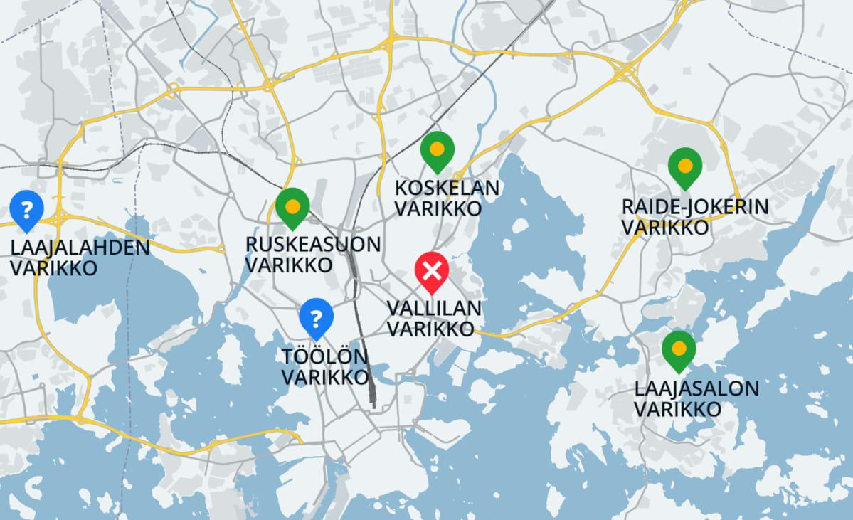 Helsinkiin rakennetaan tällä vuosikymmenellä neljä uutta raitiovaunuvarikkoa: Ruskeasuolle, Laajasaloon, Roihupeltoon ja Koskelaan, jossa nykyinen varikko uudistetaan täysin. Töölön varikosta on tarkoitus luopua. Vallilan varikko on korjaamona. Lisäksi Espooseen ja Vantaalle rakennetaan mahdollisesti tulevaisuudessa omat raitovaunuvarikkonsa.