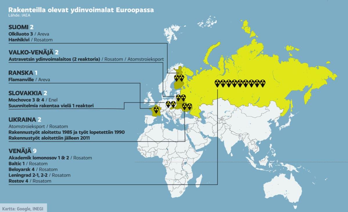 Kartta rakenteilla olevista ydinvoimaloista