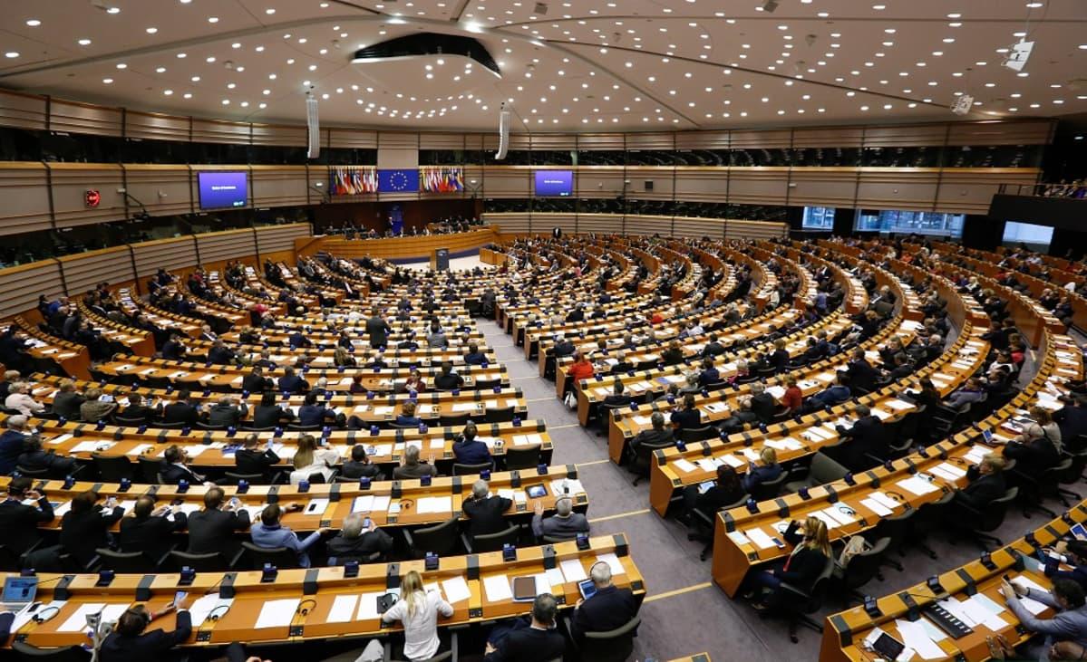 Kuva Euroopan parlamentin istuntosalista, jossa edustajien pöydät levittäytyvät puheenjohtajan korokkeesta. Puheenjohtajan korokkeen yllä on EU:n lippu ja jäsenvaltioiden liput.