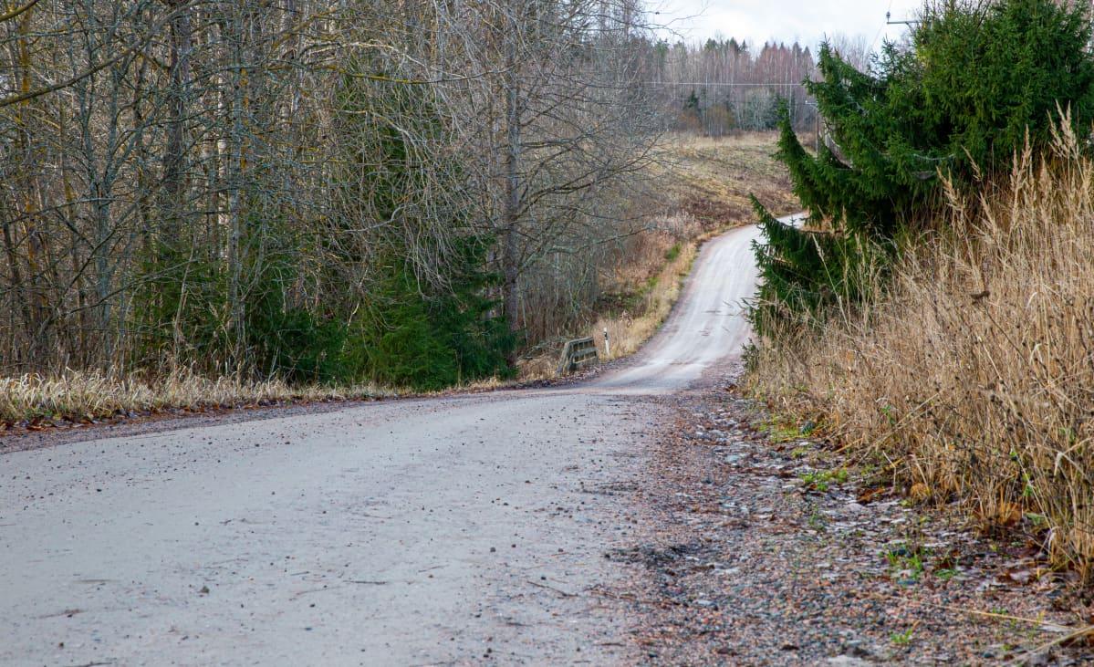Hiekkatie kulkee metsäisen maalaismaiseman läpi.
