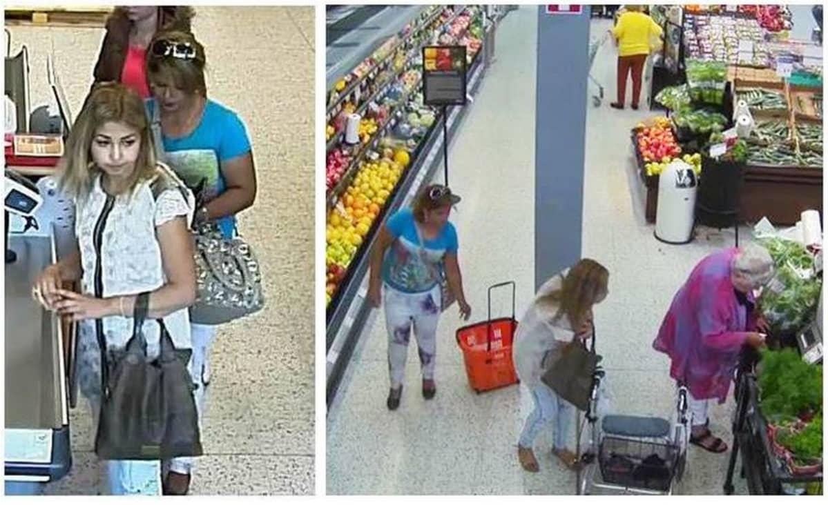 Valvontakamerakuvaa naisista jotka varastavat lompakoita