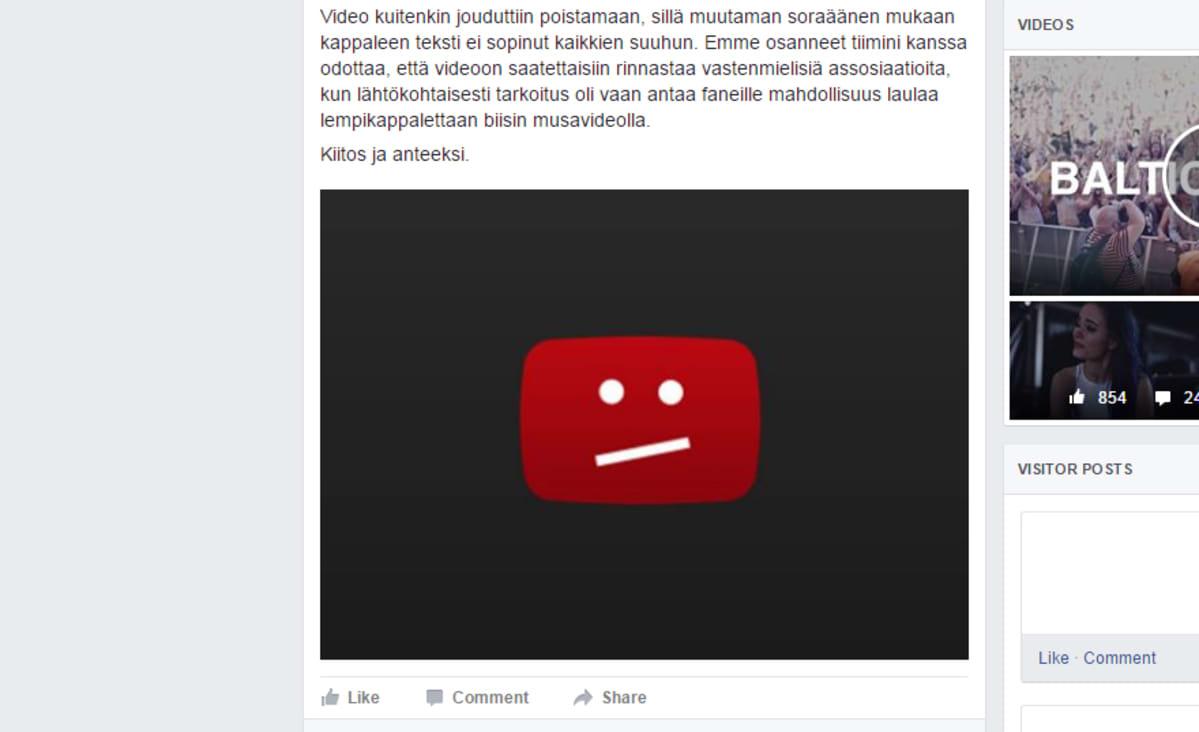 Artisti Sanni ilmoitti videonsa poistamisesta virallsiella Facebook-sivullaan 16. elokuuta.