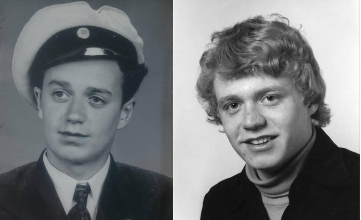 Isä ja poika, isä ylioppilaslakissa, heissä on samaa näköä