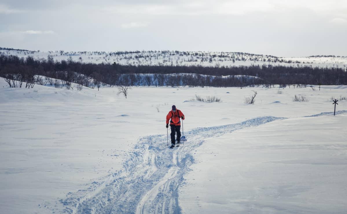 """Mikko """"Peltsi"""" Peltolan monen päivän hiihtovaellus läheni loppuaan ja loppukiri alkoi."""