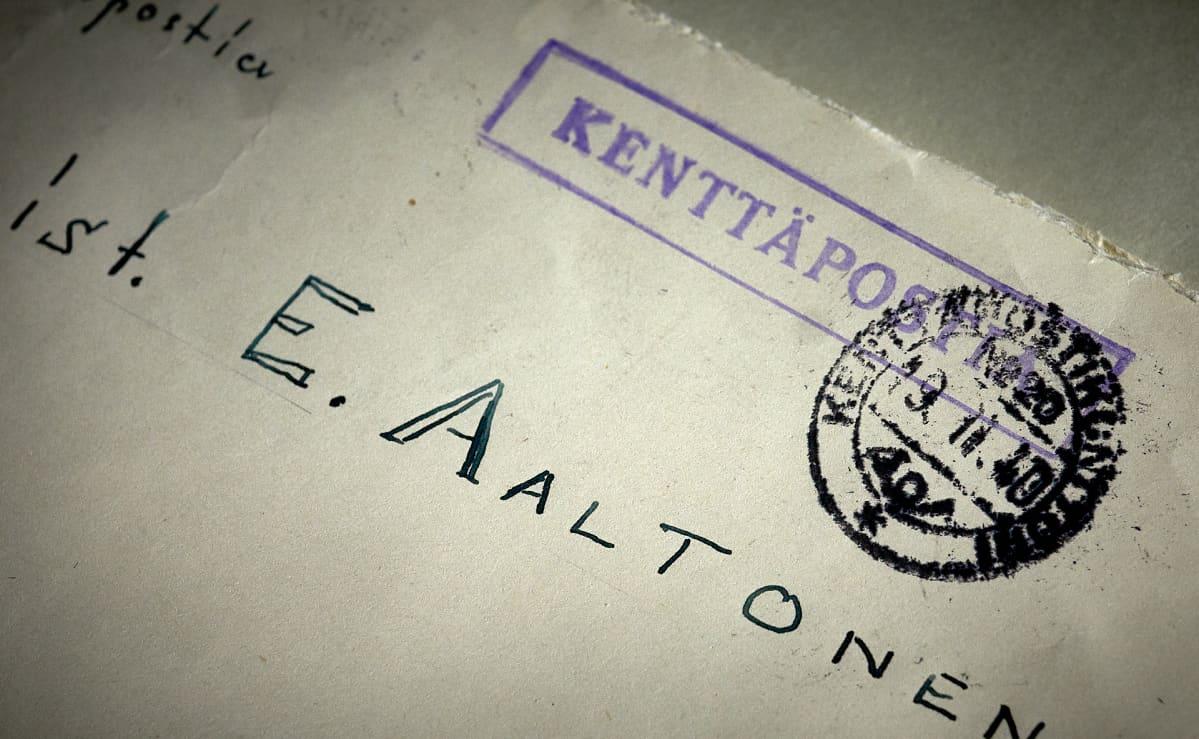 Kenttäpostia E. Aaltoselle, kirjekuori