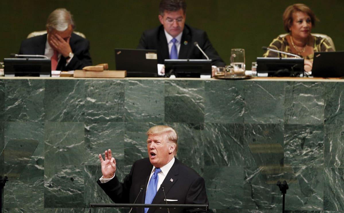 Donald Trump pitämässä puhettaan YK:n päämajassa New Yorkissa 19. syyskuuta.