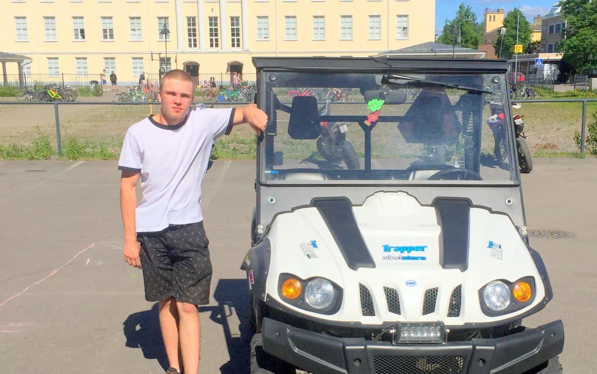 Henri Pesonen on kulkenut koulun ja työharjoittelupaikan väliä omalla kulkupelillään.