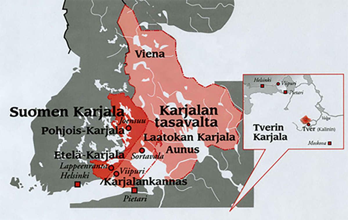 Kartta, jossa on Venäjän Karjala, Suomen Karjala ja luovutetut alueet sekä Tverin Karjala.