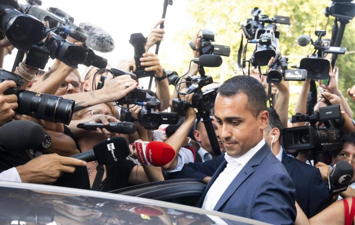 Viiden tähden liikkeen johtaja Luigi Di Maio Roomassa 26. elokuuta.