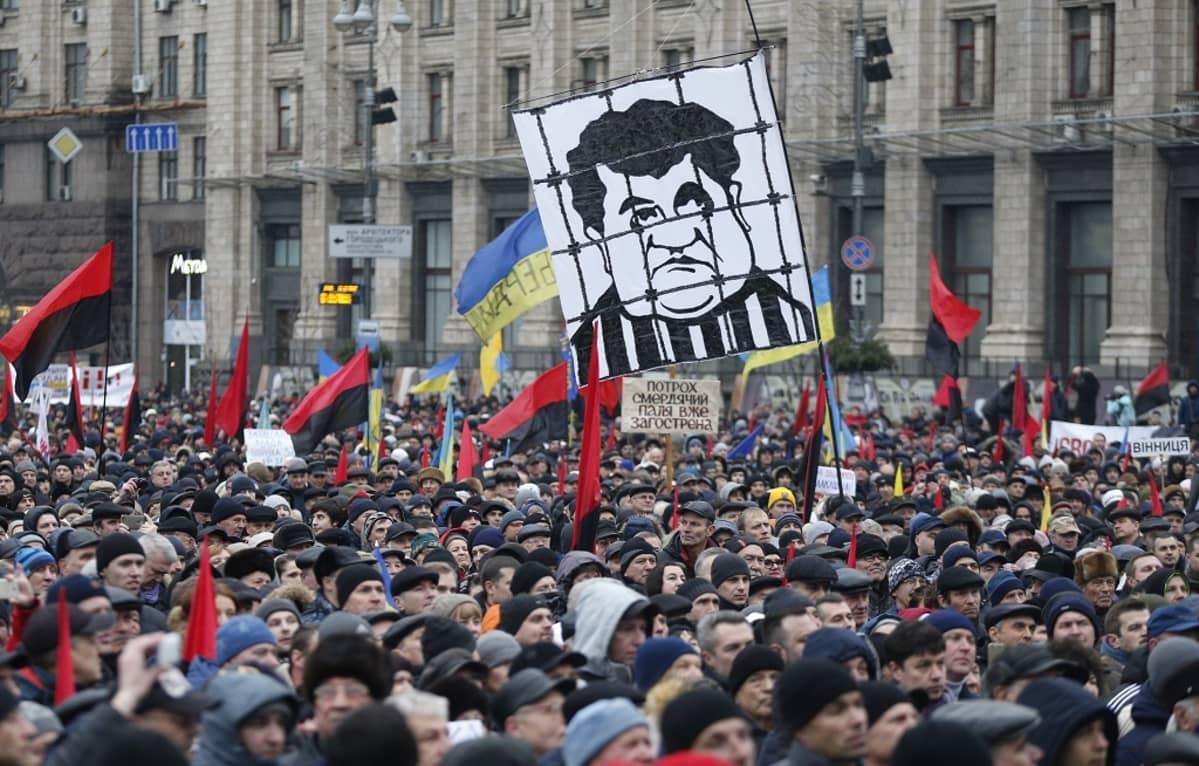 Suuri väkijoukko kulkee stalinistisen hallintorakennuksen edustalla. Kuvan keskellä näkyy suuri mustavalkoinen kyltti, johon on kuvattu karikatyyrimaisesti presidentti Petro Porošenko kaltereiden takana. Mielenosoittajat kantavat punamustia lippuja ja Ukrainan sinikeltaisia lippuja.