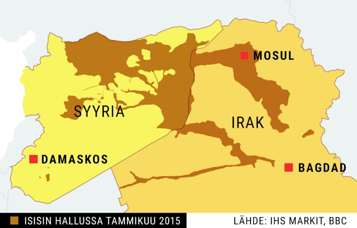 Isisin hallussa olevat alueet Syyriassa ja Irakissa tammikuussa 2015