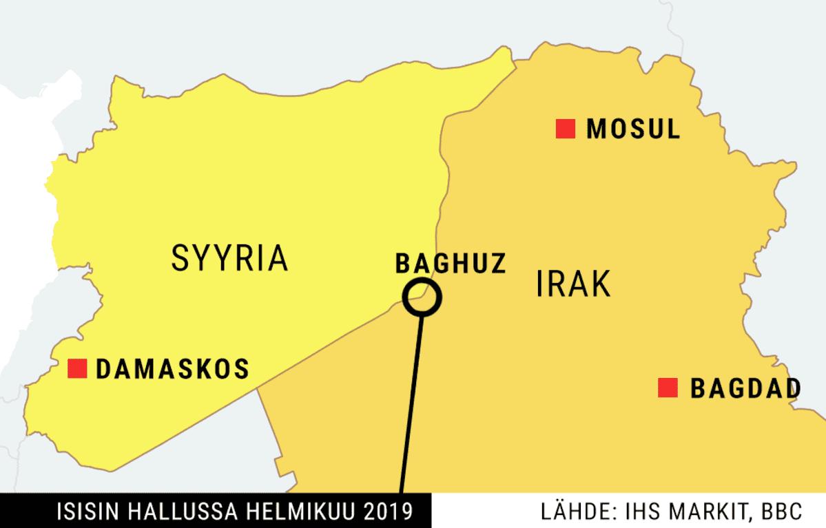Isisin hallussa oleva alue helmikuussa 2019