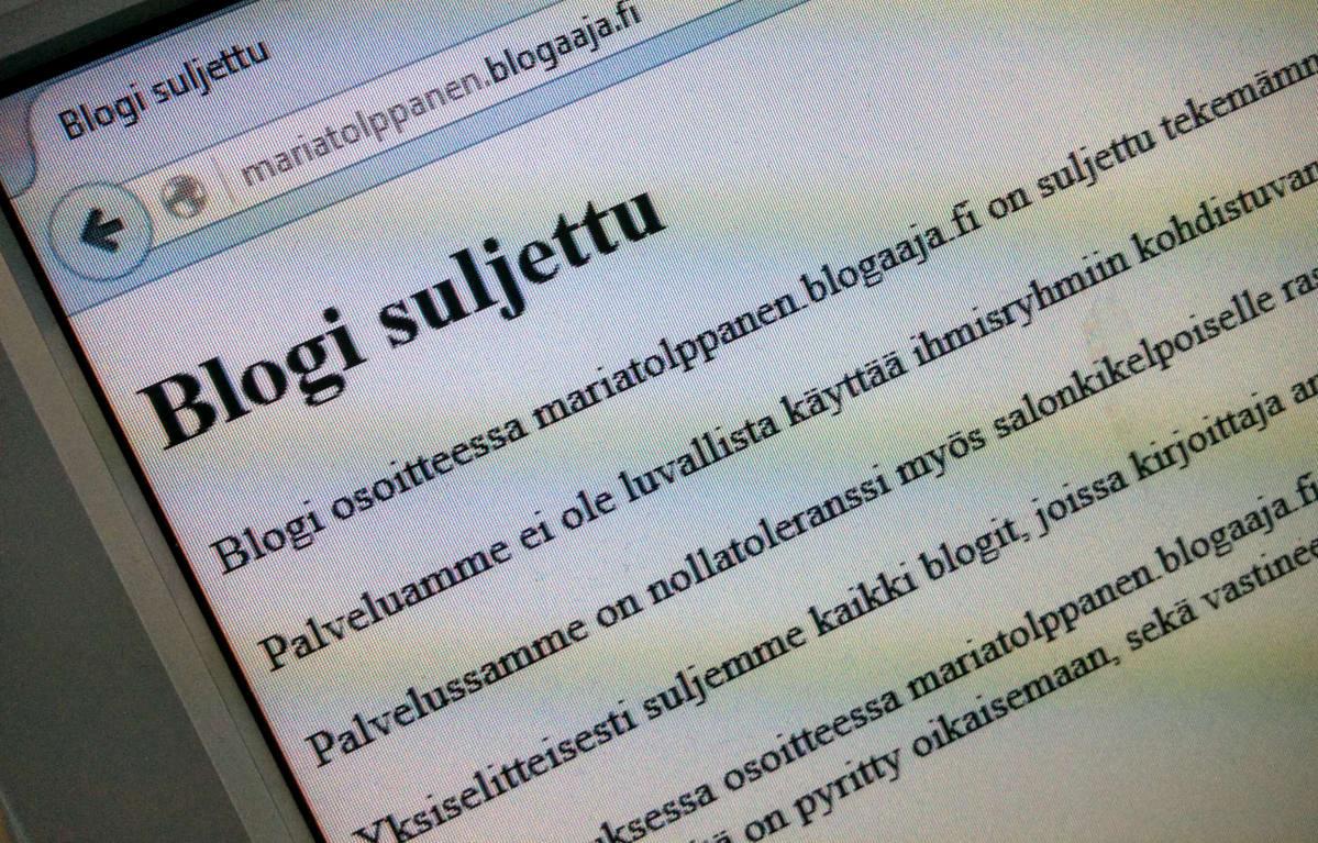Kansanedustaja Maria Tolppasen blogi suljettiin 14.4.2016