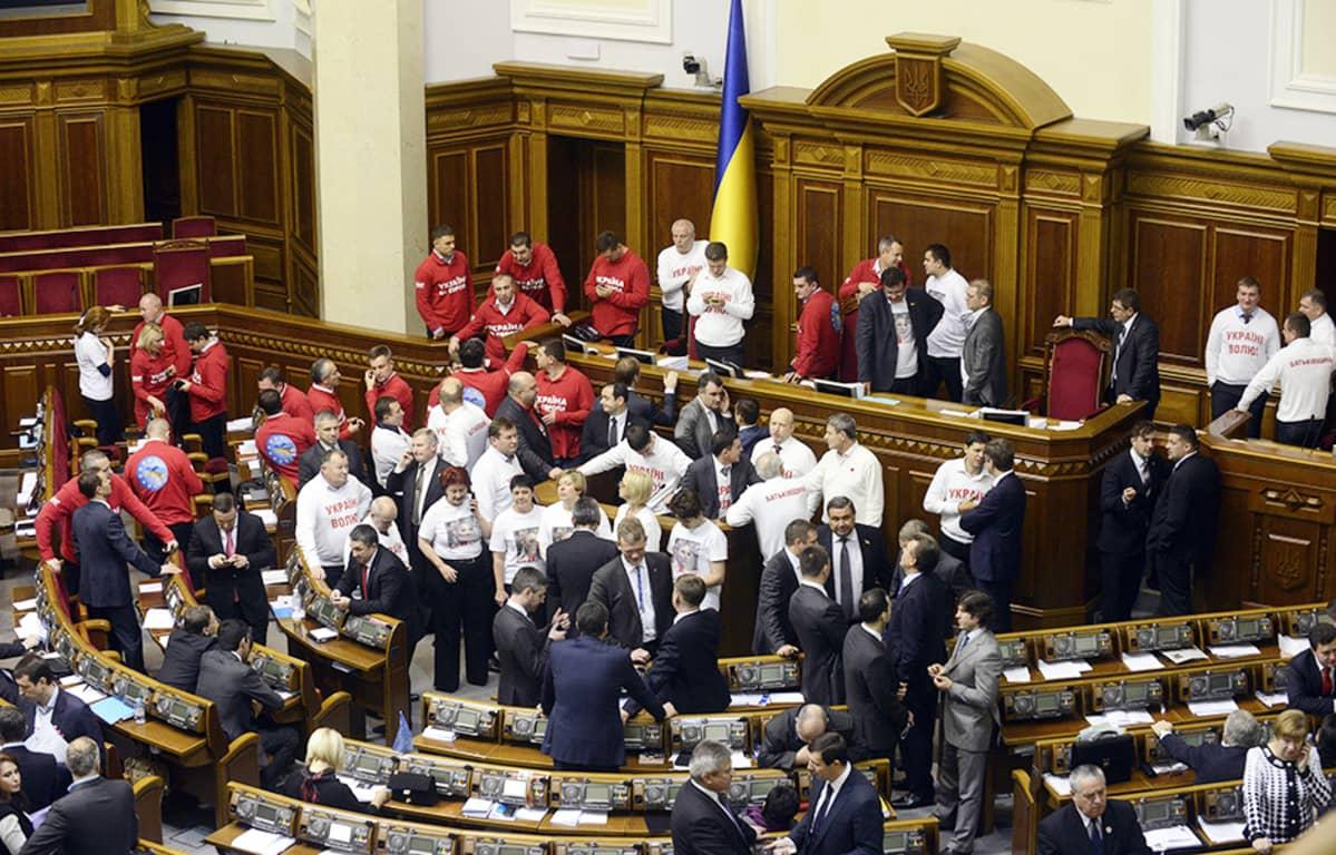 EU:n kannattajat ilmaisivat mieltään Ukrainan hallituksen keskeytettyä vapakauppasopimuksen neuvottelut EU:n kanssa.