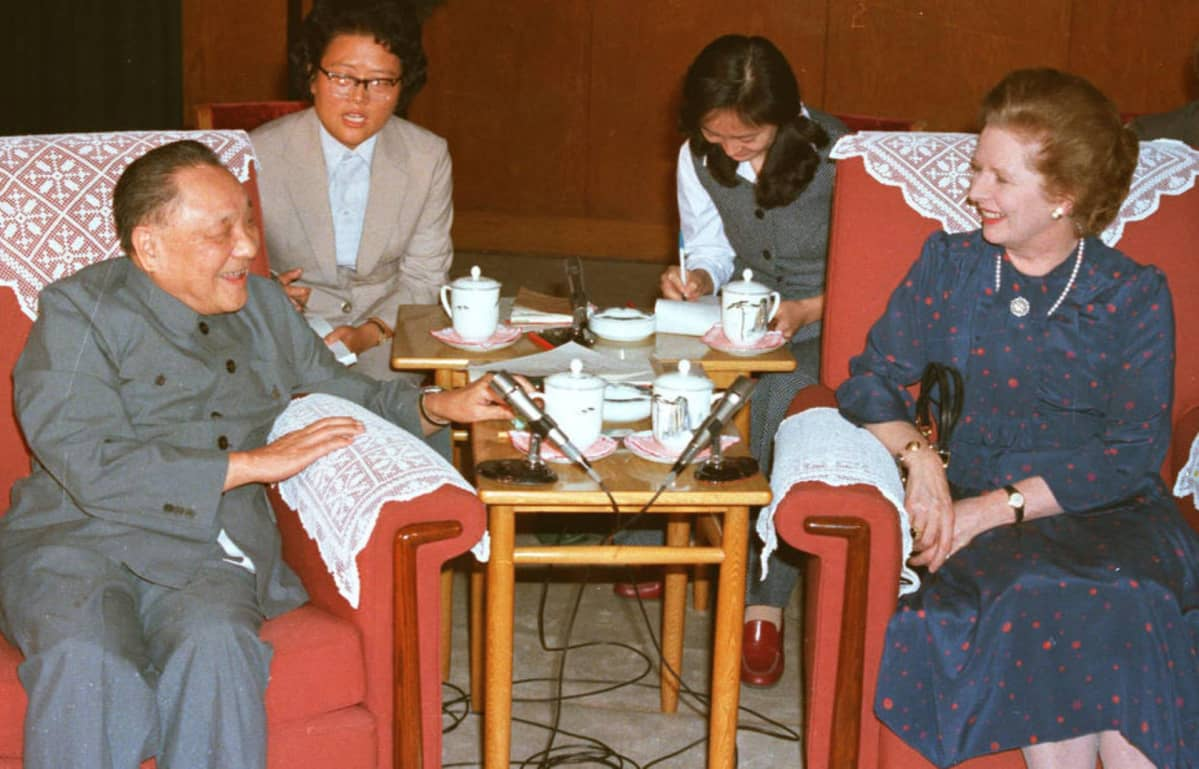 Deng Xiaoping ja Margaret Thatcher Pekingissä.
