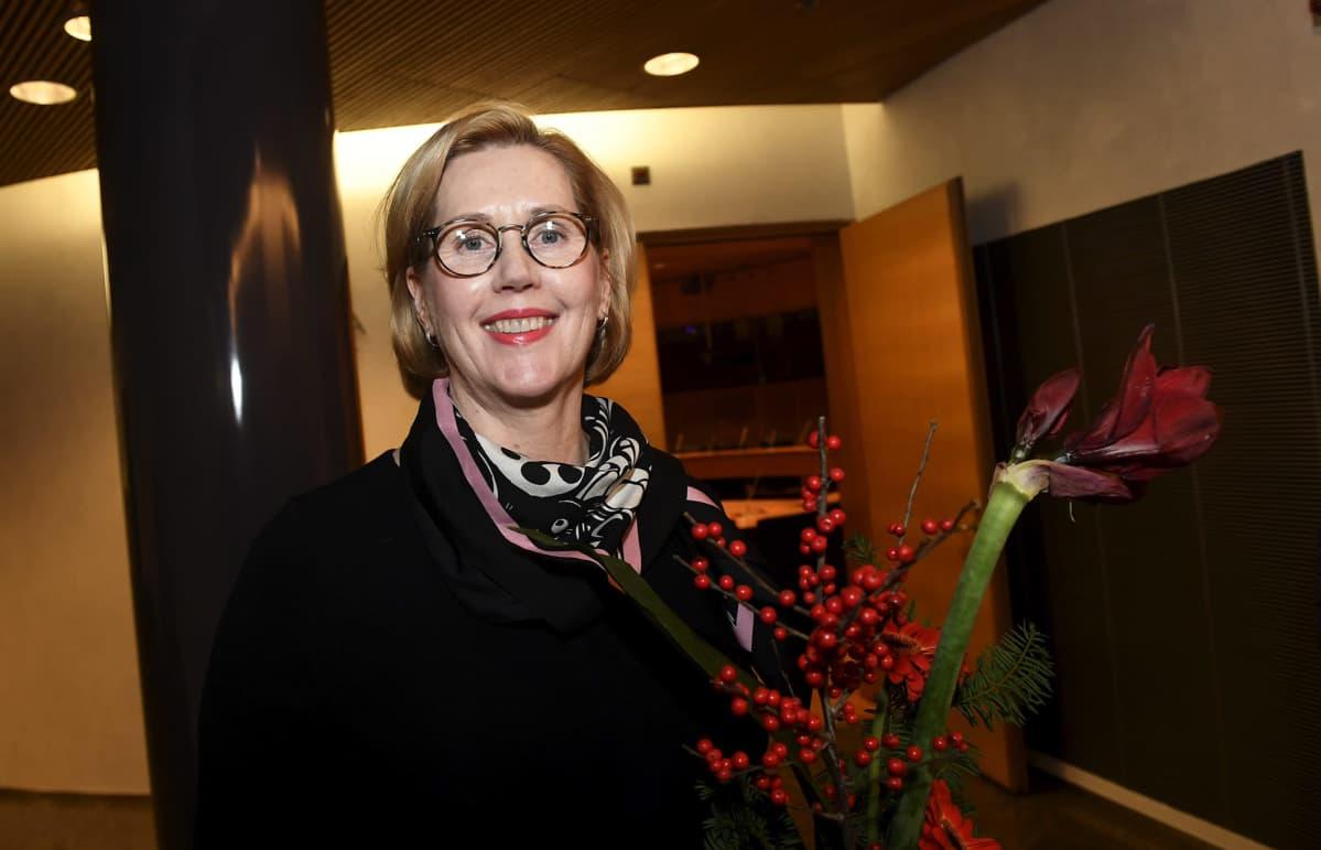 Työministeriksi ehdotettu Tuula Haatainen SDP:n puoluehallituksen ja eduskuntaryhmän kokouksen jälkeen Helsingissä 8.
