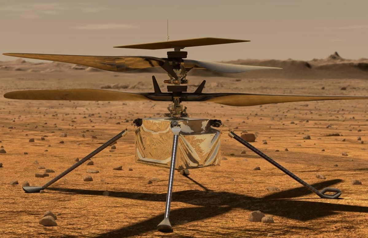 Neljällä jalalla seisova nelilapainen pieni helikopteri.