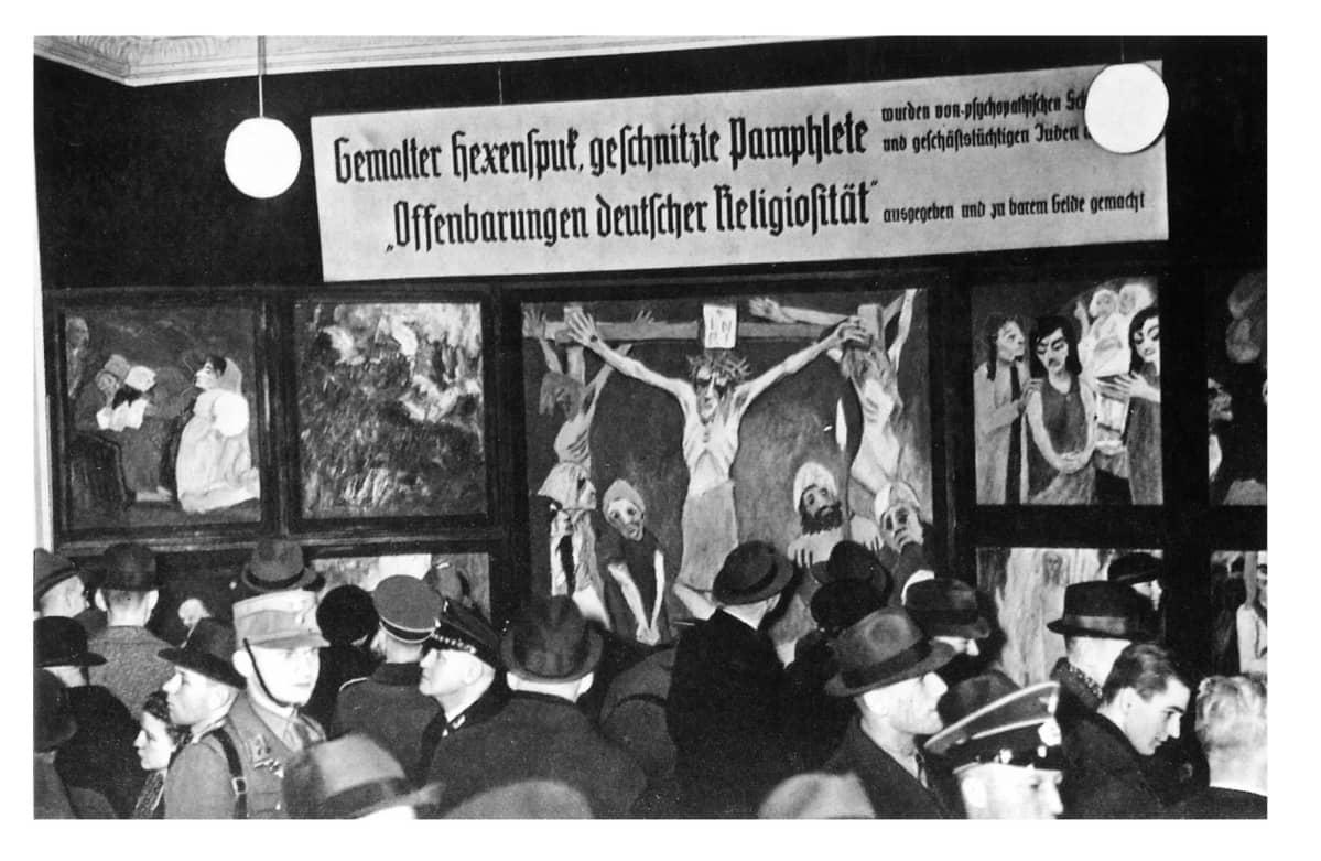 Ekspressionisti Emil Nolden maalaus natsien rappiotaiteen näyttelyssä Berliinissä vuonna 1938.