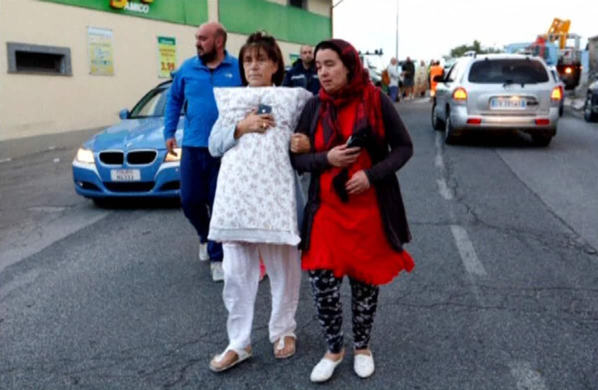 Maanjäristyksen jälkiä Amatricen kylässä Italiassa 24. elokuuta.
