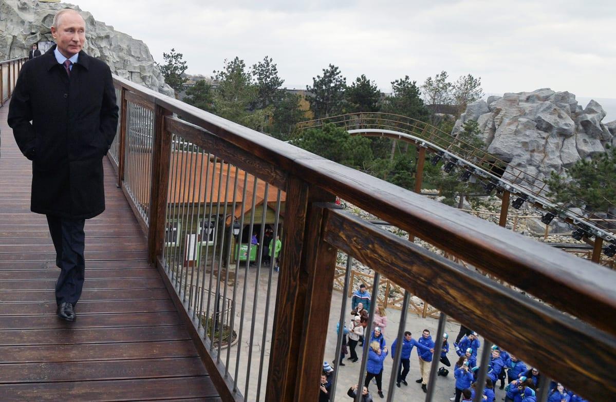 Vladimir Putin  kävelee puisella sillalla, taustalla hotellin pihamaa.