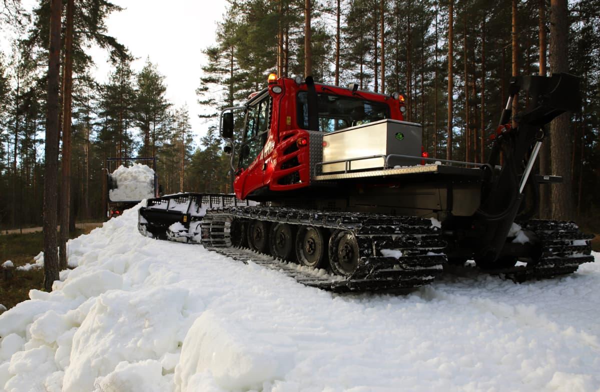 Kone työntää lunta ladulle