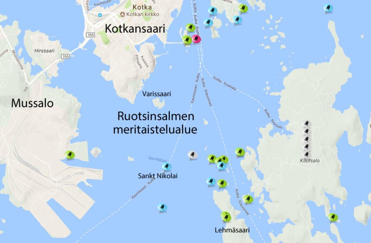 kartta meritaistelualueesta