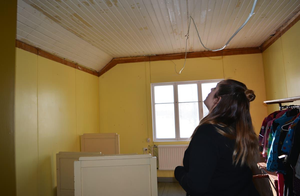 Salla Kurikka kaivoi talonsa vintillä vanhojen haltex-levyjen alta esiin ajan patinoiman kattopaneelin. Se saa pintaansa vielä maalin, mutta esimerkiksi naulanreiät saavat Kurikan mukaan näkyä.