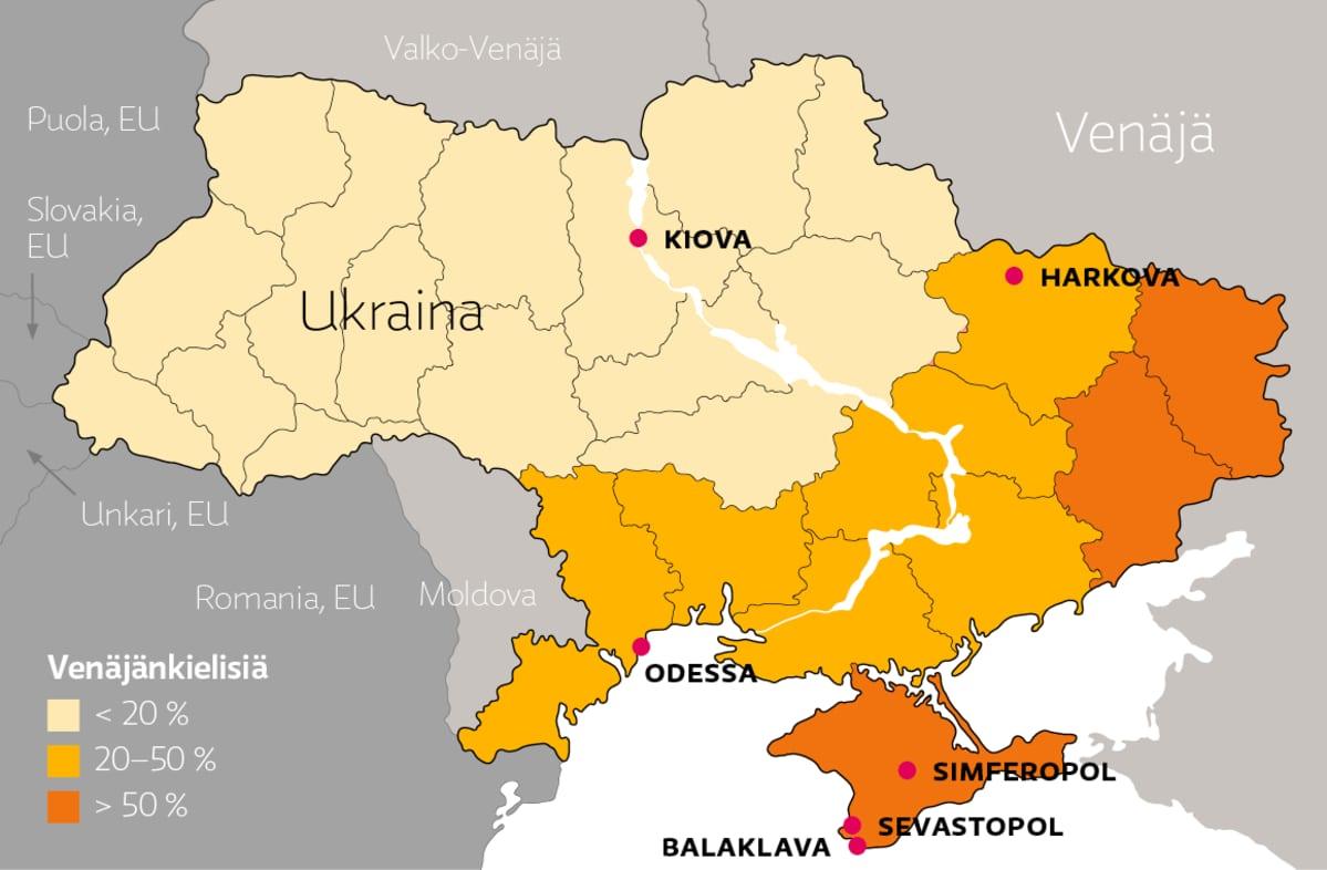 Ukrainan venäjäkielisten osuus vuoden 2001 väestönlaskennan mukaan.