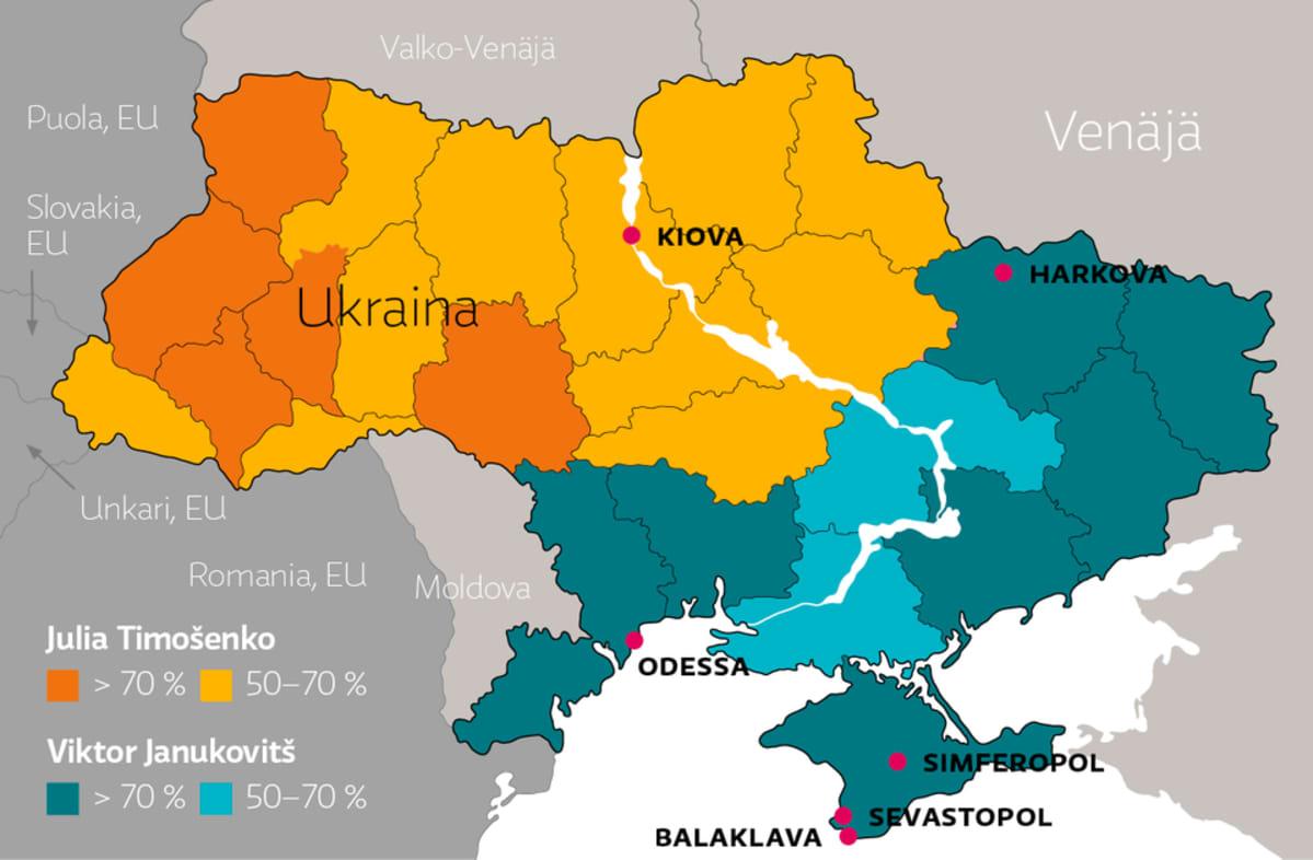2010 Ukrainan vaalituloksen jakautuminen Julia Timošenkon ja Viktor Janukovitšin välillä.
