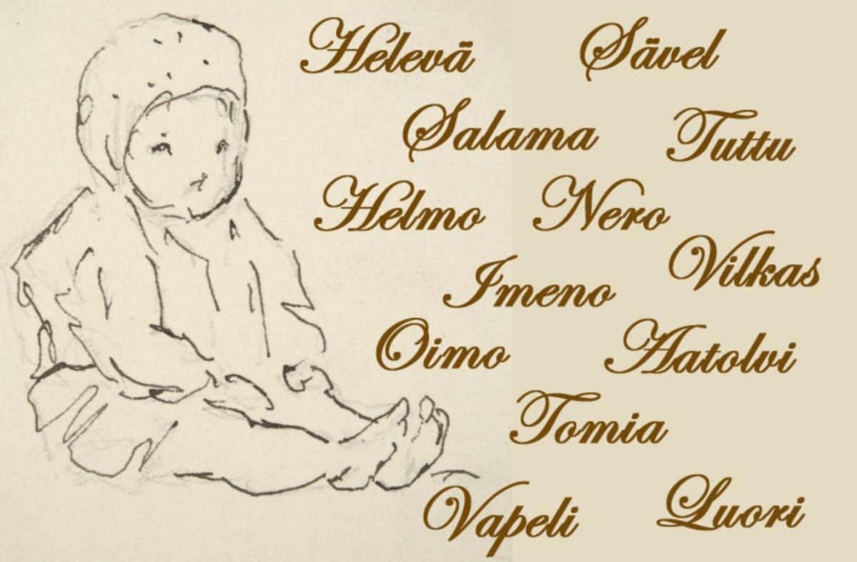 Viivapiirros istuvasta lapsesta sekä nimet Helevä, Sävel, Salama, Tuttu, Helmo, Nero, Imeno, Vilkas, Oimo, Aatolvi, Tomia, Vapeli ja Luori.