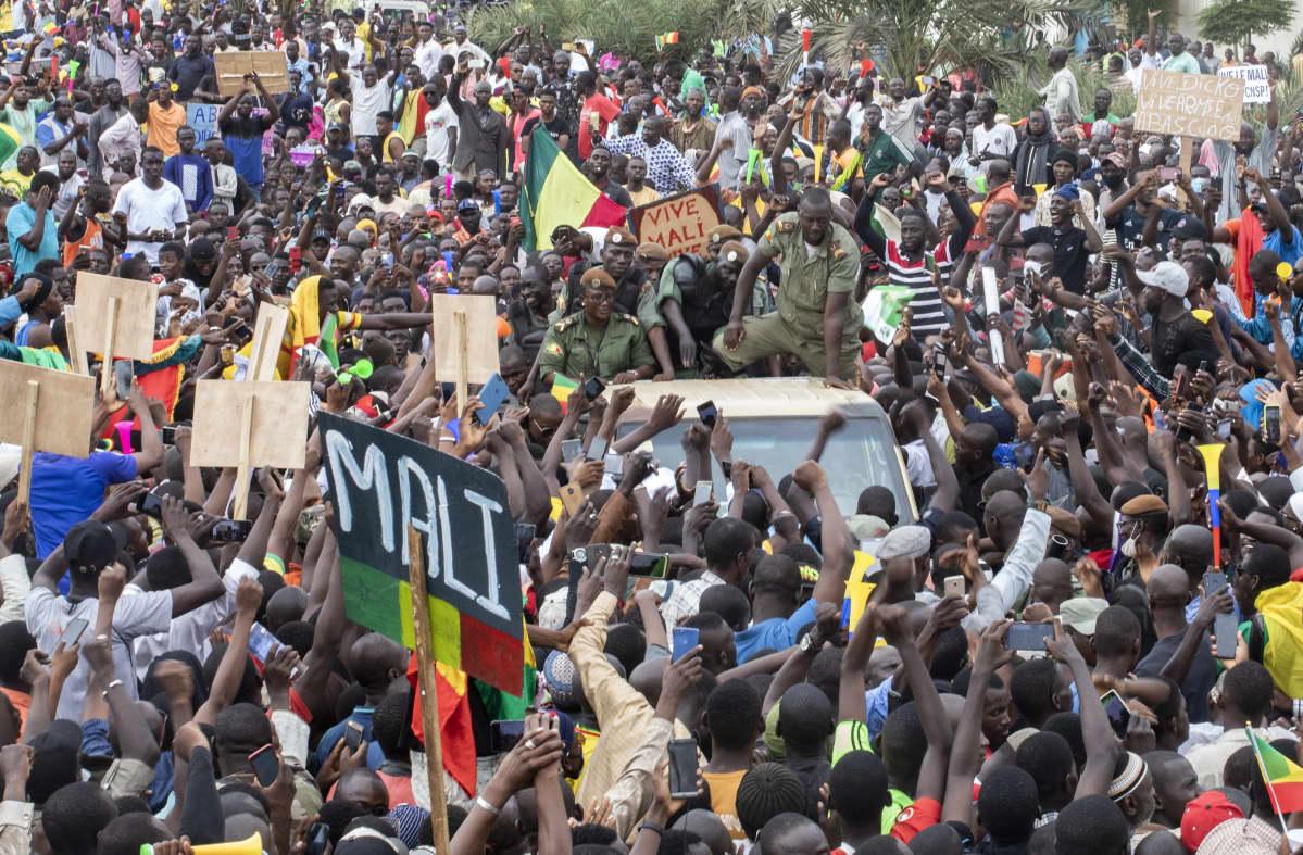 Riemuitseva väkijoukko ympäröi sotilaiden autoa.
