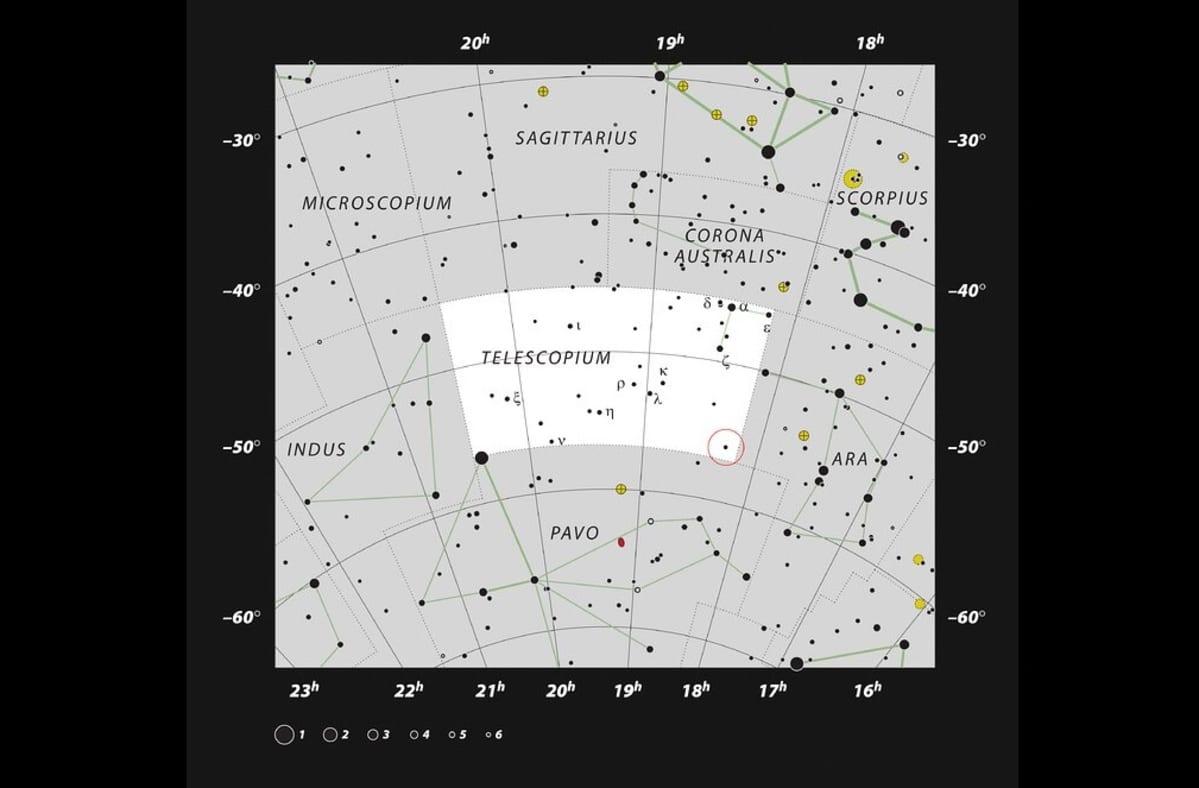 Siivu eteläisen tähtitaivaan karttaa.