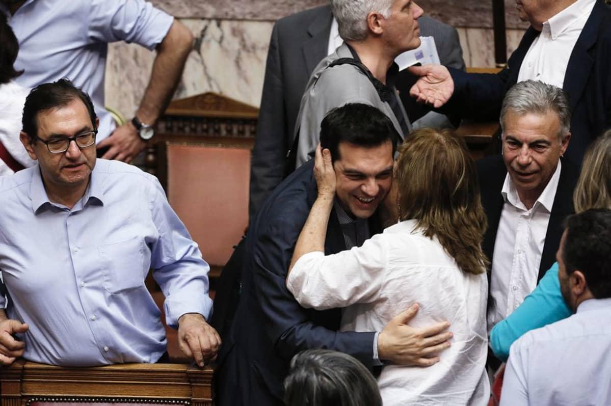 Kreikan pääministeri Alexis Tsipras äänestyksen jälkeen.