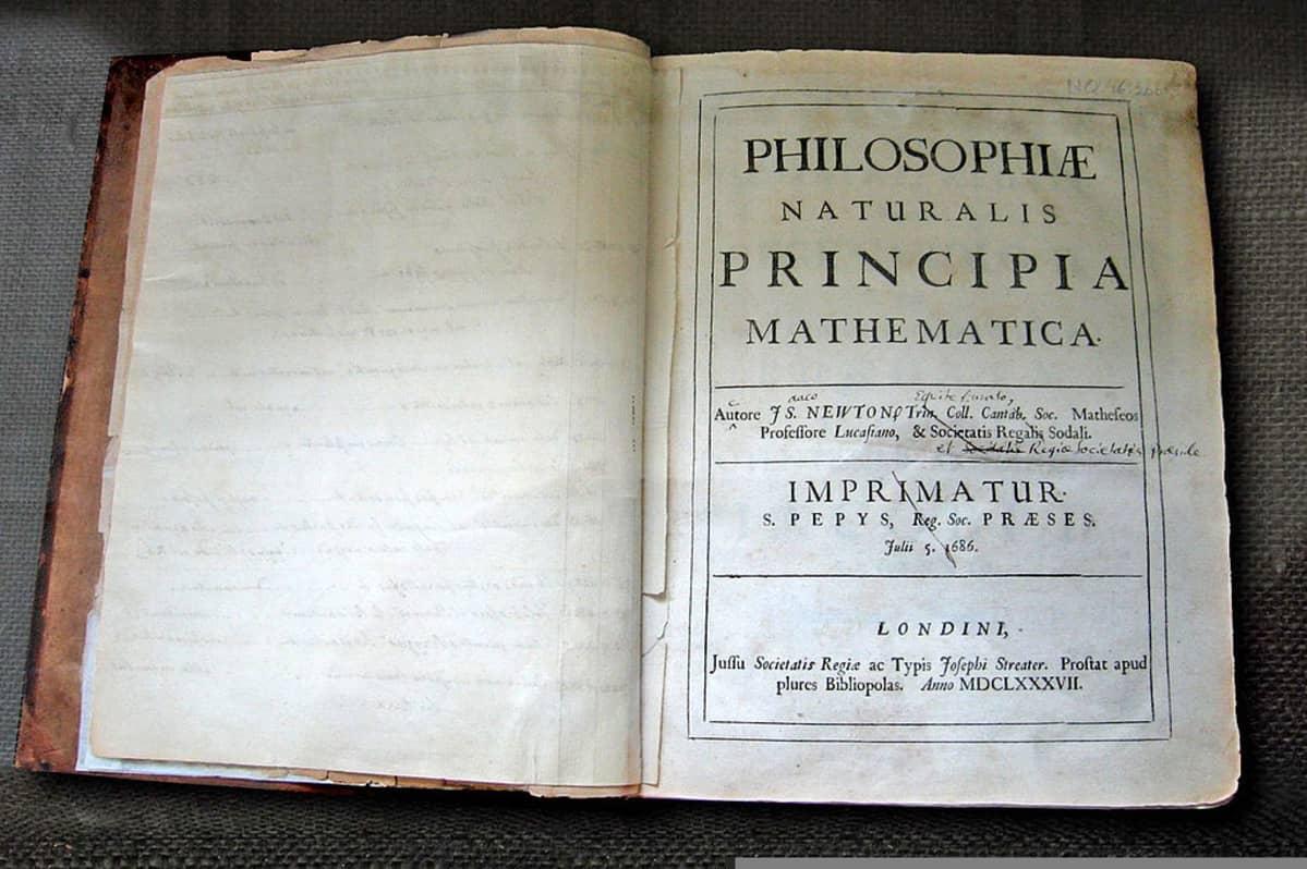 Philosophiae naturalis principia mathematica -teos avattuna nimiaukeamalta