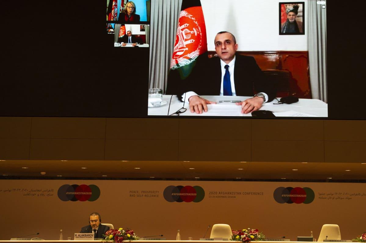 Varapresidentti Amrullah Saleh osallistui Afganistan-avustuskokoukseen etäyhteydellä.