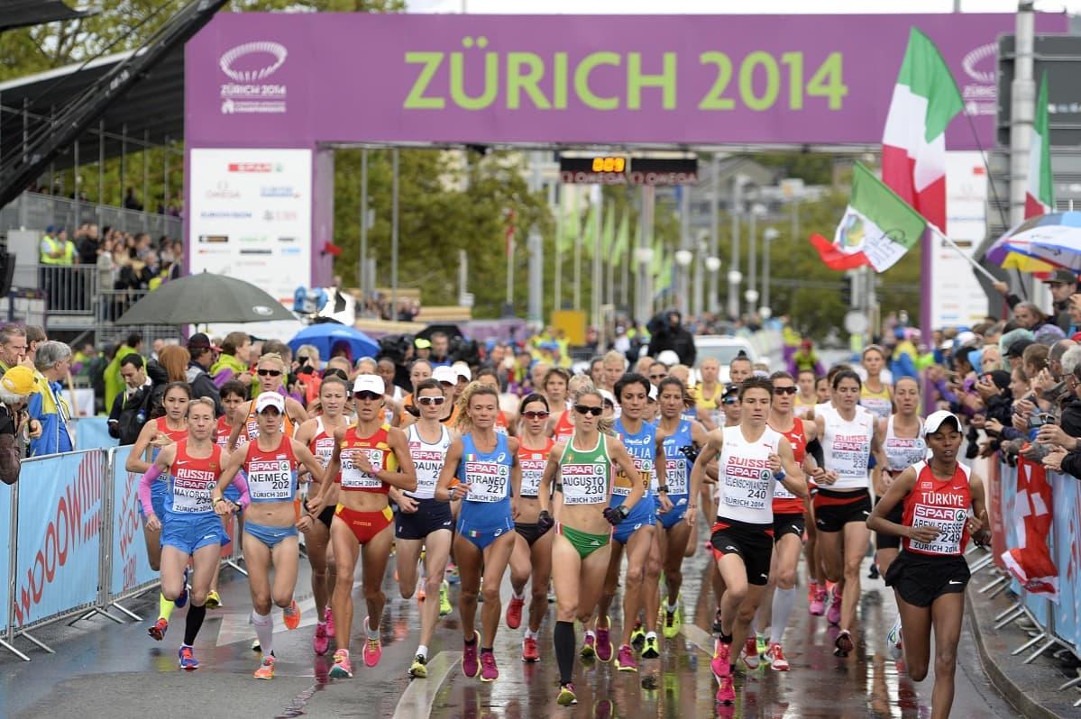 Maratonjuoksijoita Zürichin EM-kisoissa 2014