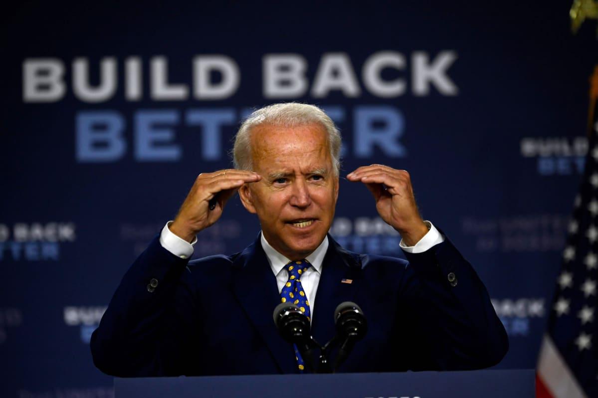 Joe Biden puhui kampanjatilaisuudessaan Wilmingtonissa Delawaressa.