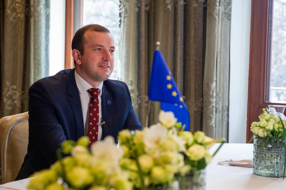 EU:n ympäristöstä, valtameristä ja kalastusasioista vastaava komissaari Virginijus Sinkevičius 5.4.2021.