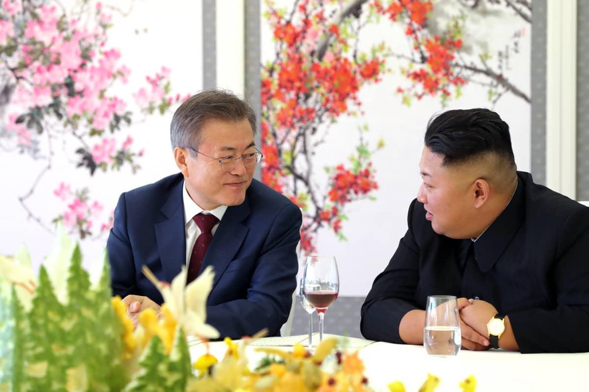 Etelä-Korean presidentti Moon Jae-in ja Pohjois-Korean johtaja Kim Jong-un keskustelevat. Molemmat hymyilevät.