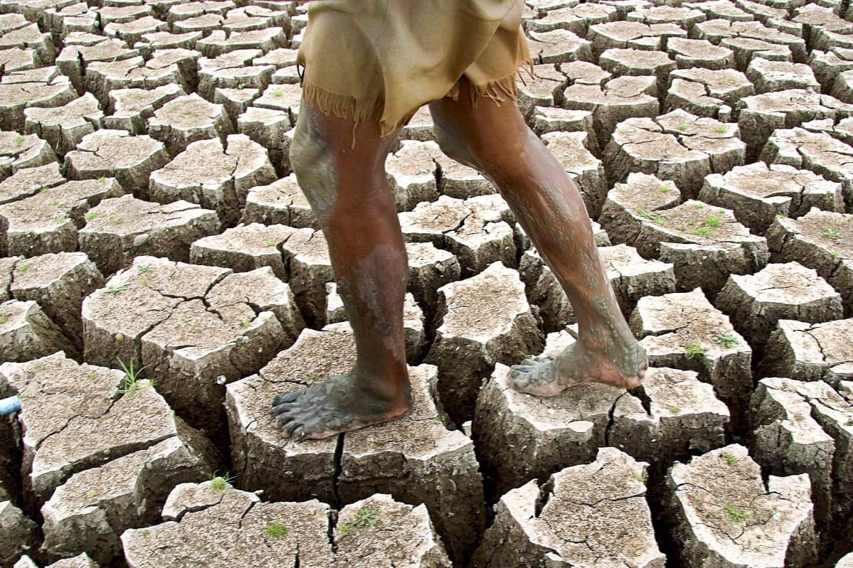 Kalastaja kävelee kuivuneen patoaltaan pohjalla.