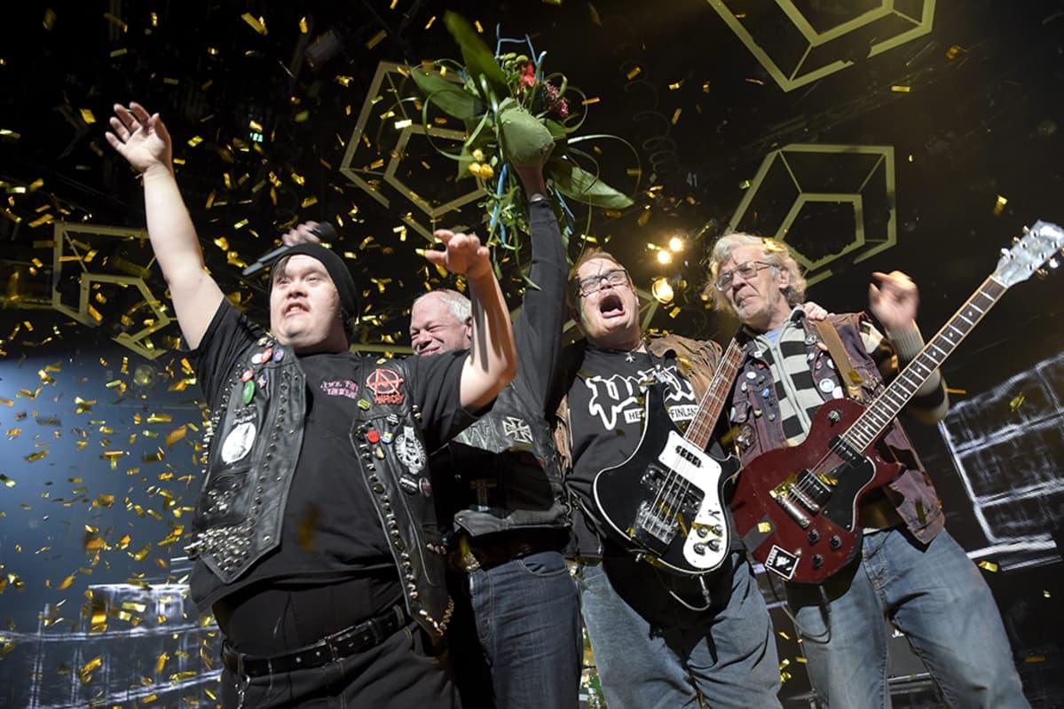 Pertti Kurikan Nimipäivät voitti Uuden Musiikin Kilpailun Helsingissä 28. helmikuuta 2015.