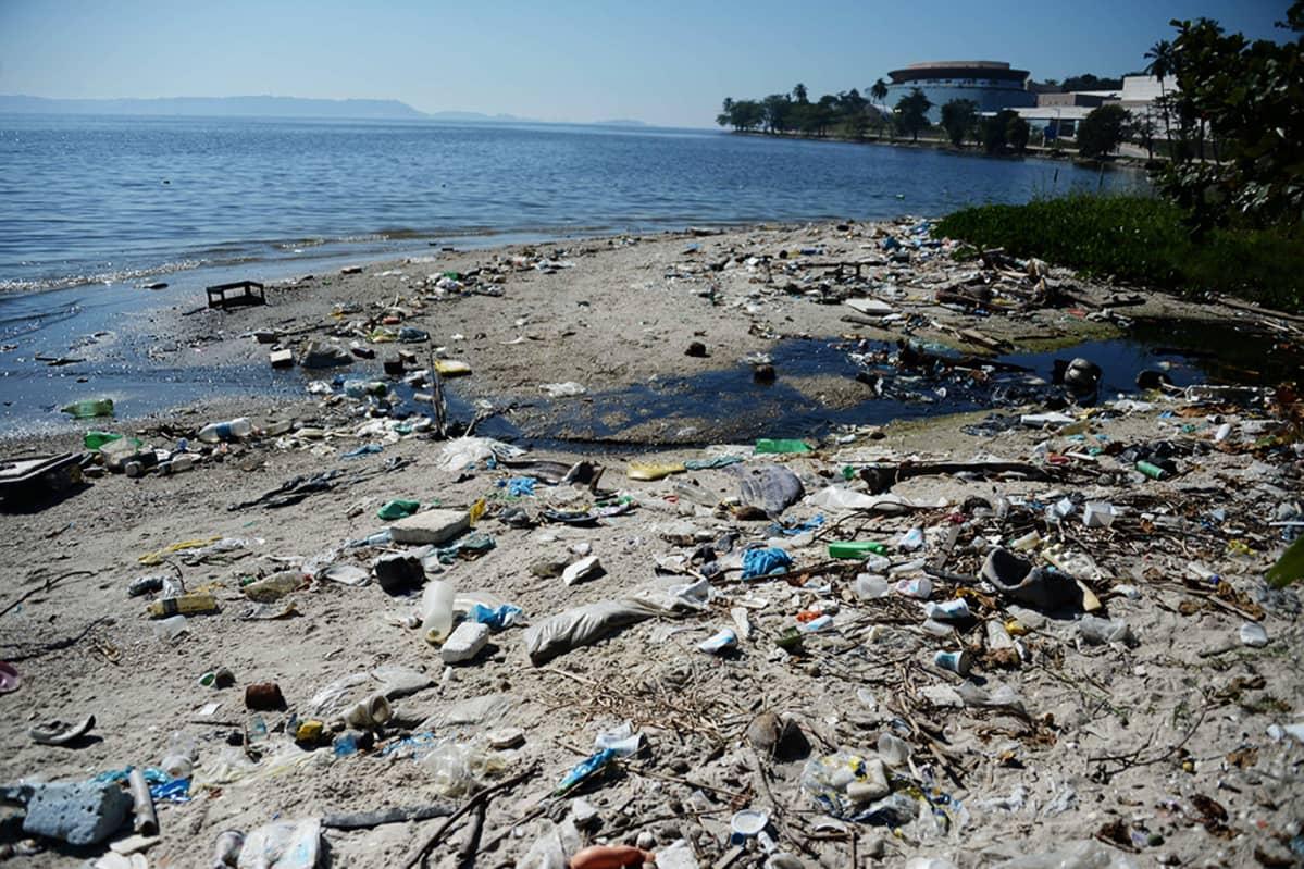 Saastunutta rantaa Rio de Janeirossa.