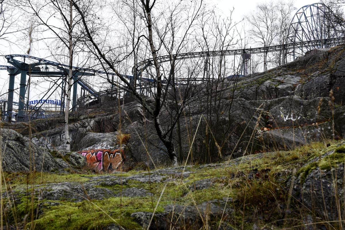 Syksyinen maisema Helsingin Alppilassa.