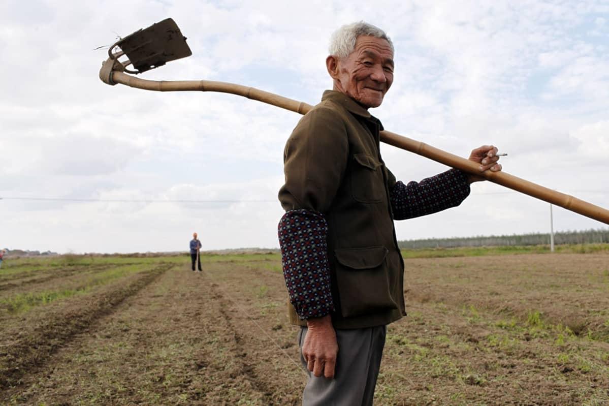 Vanha kiinalaismies kuokka olalla pellon laidassa.