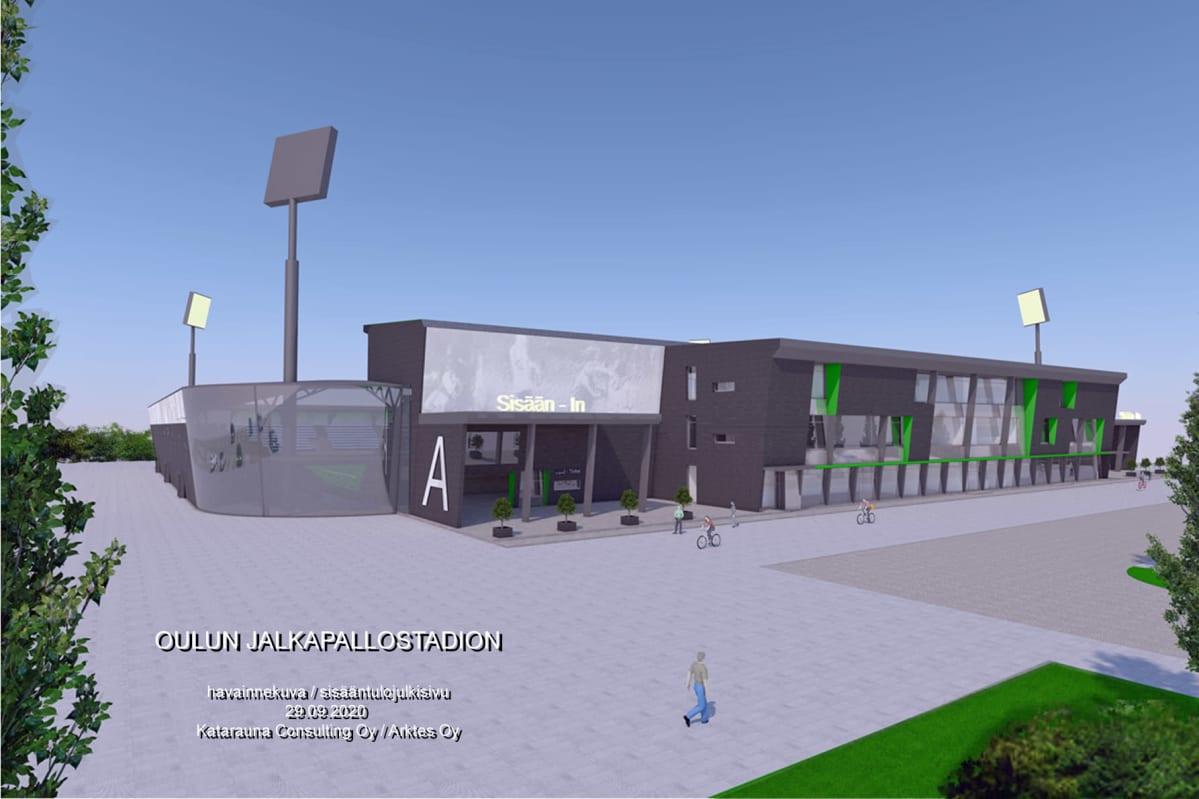 Havainnekuva AC Oulun suunnittelemasta jalkapallostadionista.